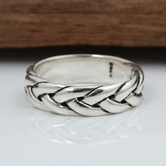 Men's Sterling Silver Braided Pattern Band Ring