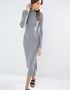 Image 4 of One Day Tall Longline Split Side Jersey Dress With Roll Neck