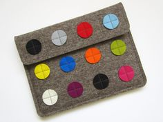 iDot - iPad sleeve, iPad cover wool felt - grey with different colored dots. $45.90, via Etsy.