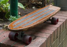 1960s Vintage SKATEBOARD with COOL STICKERS by lloydstreasures