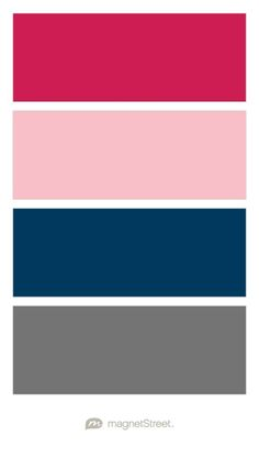 Raspberry, Carnation, Navy, and Charcoal Wedding Color Palette - custom color palette created at MagnetStreet.com