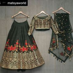 Buy dark green with blest embroidery work & foil work party wear lehenga choli online.This set is features a dark green blouse in dark green fully embellished with crystal, embroidery and sequins work.It has matching dark green lehenga in raw silk wit Indian Lehenga, Silk Lehenga, Black Lehenga, Indian Attire, Indian Wear, Indian Dresses, Indian Outfits, Lehnga Dress, Desi Clothes