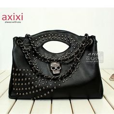 Gothic Skull Studded Metal Chain Shoulder Bag Top Handle Satchel Handbag 2 Colors