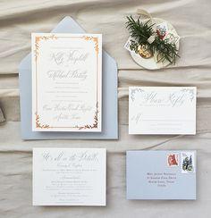 romantic texas wedding letterpress invitation | copper foil, dusty blue | hill country weddings