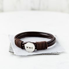 Personalised Silver And Leather Bracelet | hardtofind.