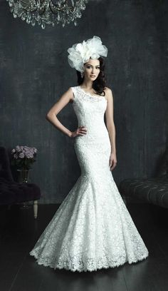 Gorgeous, lace, trumpet style, one shoulder, wedding gown from Allure Bridal. Front view.