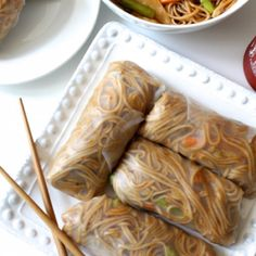These Teriyaki Soba Noodle Spring Rolls are packed with crunchy veggies and saucy noodles. Plus, they're vegan and gluten free!