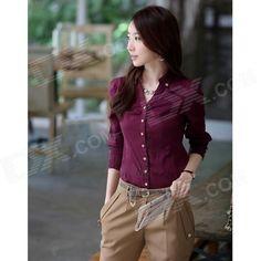 Красная женская деловая блузка