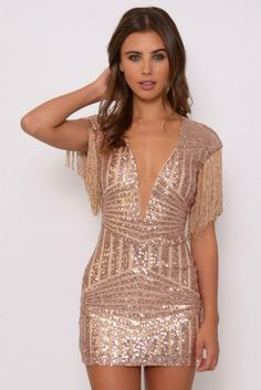eee6735a2d3 Pin for Later  See in the New Year in Style in the Best NYE Dresses Rare  London Limited Edition Rose Gold Sequin and Fringe Mini Dress Rare London  Limited ...