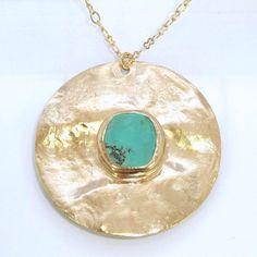 Pendentif collier turquoise, bijoux Bohème, Turquoise pendentif en or, bijoux…