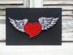 Handmade String Art Sign, Vintage Heart With Wings Tattoo