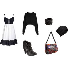 A laid back girly look. Cute dress with a cropped sweater, ankle boots, and knit hat.