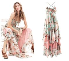 KCLOTH Maxi Dress With Ruffle Floral Printed by KCloth on Etsy, $22.99