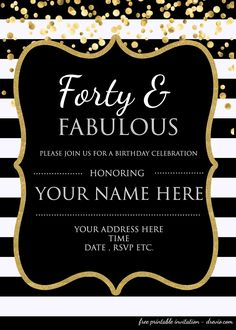 Awesome Forty Fabulous 40th Birthday Invitation Template