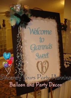 Custom Sign in Books boards for Sweet 16 Mitzvah Quinceanera Party ( shown Tiffany theme Welcome Board) www.SincerelyYoursParty.com