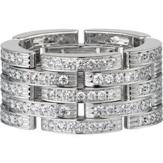 CARTIER Maillon Panthère 18ct white-gold and diamond link ring (£17,900) ❤ liked on Polyvore featuring jewelry, rings, cartier jewelry, diamond jewellery, pave diamond ring, pave diamond jewelry and cartier jewellery