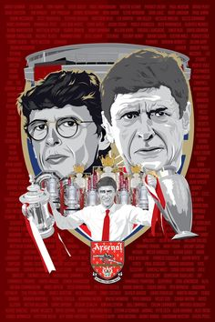 poster of Arsène Wenger as he celebrates his anniversary as Arsenal manager. Arsenal Fc, Arsene Wenger, Football Art, Illustration, 20th Anniversary, Cannon, Arsenal F.c.