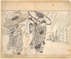 Nishikawa Sukenobu | A Lady with Three Attendants in the Rain | Japan | Edo period (1615–1868) | The Met