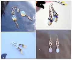 Items similar to Natural Moonstones, Feather earrings. on Etsy Feather Earrings, Drop Earrings, Moonstones, Trending Outfits, Natural, Unique Jewelry, Handmade Gifts, Etsy, Vintage
