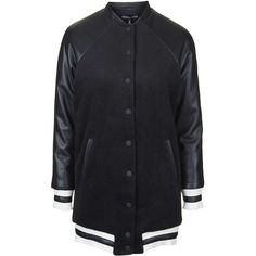 **Longline Bomber Jacket By Kendall + Kylie at Topshop (€130) ❤ liked on Polyvore featuring outerwear, jackets, topshop, coats, jackets/blazers, black, black flight jacket, flight jacket, black bomber jacket and lined bomber jacket