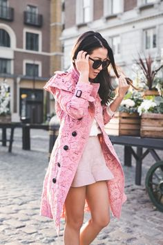 London in Bloom :: Pink lace trench & Nude pumps :: Outfit ::  Top :: Burberry jacket   Burberry ruffle shirt Bottom :: Intermix Bag :: Prada Shoe :: Gianvito Rossi Accessories :: Karen Walker sunglasses   Tiffany & Co rings Published: June 23, 2017