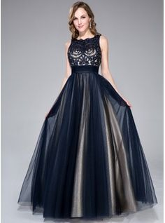 A-Line/Princess Scoop Neck Floor-Length Tulle Charmeuse Prom Dress With Beading Sequins Bow(s) (018046233) - JJsHouse