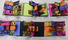 Flag book with monotype prints and texture photocopies