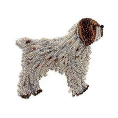 WIRE Haired POINTING GRIFFON beaded dog pin brooch art jewelry #wirehairedPointinggriffon #griffon #dogs #jewelry #etsy #beaded #beads