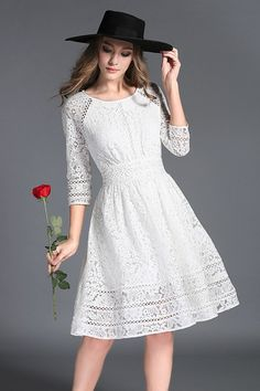 Ideas For Dress White Graduation Sleeve Navy Blue Lace Summer Dresses, Lovely Dresses, Trendy Dresses, Lace Dress, Casual Dresses, Short Dresses, Fashion Dresses, White Dress, Outfits In Weiss