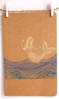 Nautical Notebooks with Mermaid, Anchor and Starfish, Craft Moleskine Notebook, Jotter, Journal.