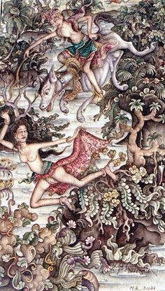 I Made Budi, Batuan : Dewi Sri, pursued by lower, Mythology scenes