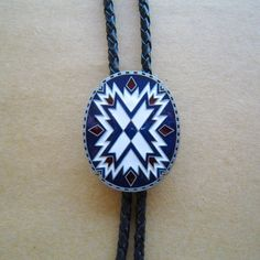 Silver Plated Geometric Patterns Western Cowboy Rodeo Bolo Tie