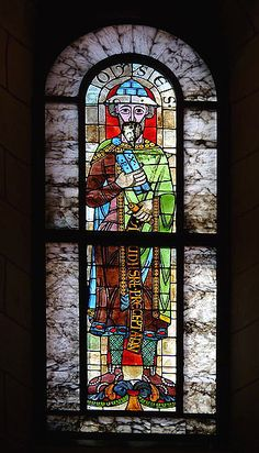The oldest stained glass window in the world, from Augsburg Cathedral in Germany.  The image features the prophet Moses.