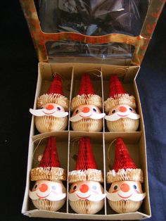 Box of 6 Vintage HOLT-HOWARD Santa Claus Christmas Ornaments Tree Trimmers JAPAN