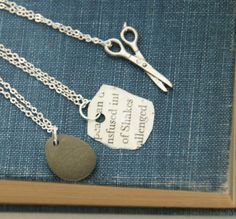 Rock Paper Scissors  Friendship Necklaces by TheBowedArrow on Etsy, $30.00 Also very cute and creative!
