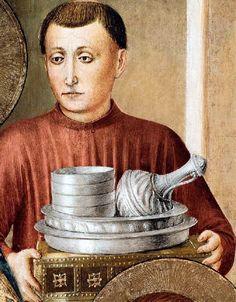 Fra Angelico - Renaissance - La Chapelle Niccoline - Saint Sixte remet à Laurent les trésors de l'église qui en fait l'aumône - La vaisselle offerte par un fils de l'Empereur, détail.