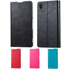 Sleo Sony Xperia M4 Aqua Leather Wallet Case - Sleo Luxury Slim Cow Split Leather Flip Protective Cover Case For http://www.smartphonebug.com/accessories/some-of-the-best-26-sony-xperia-m4-aqua-cases-and-covers/