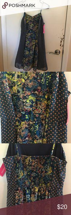 Print spaghetti strap dress Floral/print wig adjustable spaghetti straps. Never been worn Xhilaration Dresses Mini