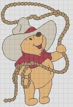 WINNIE THE POOH COWBOY CROCHET PATTERN AFGHAN GRAPH #198   crochetpatternsetc - Patterns on ArtFire
