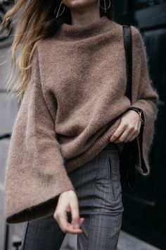 Camel Mohair Sweater With Stirrup Trousers Trend