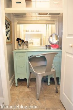 DIY closet vanity area.. a great place to get ready & you can close the doors on it!