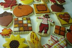 Autumn / Fall Assortment of patchwork pumpkins, hearts, scarecrow, leaves, sunflowers, quilt, indian corn