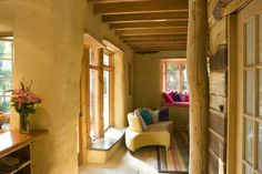 Interior strawbale house - love the airy home-y-ness