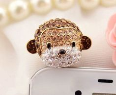 1PC Crystal 3D Monkey Earphone Cap Anti Dust Plug by cybrecoolmak, $6.66