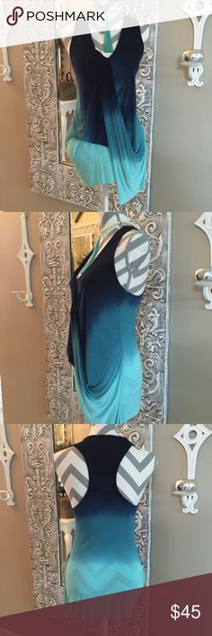 Young Fabulous & Broke Shirt Adorable faux wrap front shirt in a navy, emerald & soft mint color. Super soft 100% Rayon, hand wash. Cut longer in the left side. This is an x-sm but would fit up to a 2. Mannequin 35 25 35. NWT Young Fabulous & Broke Tops