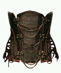 Punk Korsett Corsage Gothic Steel Bone Gothik Brokat Steampunk Unterbrustkorsett