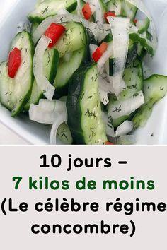 10 days - 7 pounds less (The famous cucumber diet) - program minceur - Régime Best Diet Foods, Healthy Diet Tips, Diet Food List, Best Diets, Diet And Nutrition, Nutrition Quotes, Healthy Eating, Low Fat Diet Plan, Lemon Diet