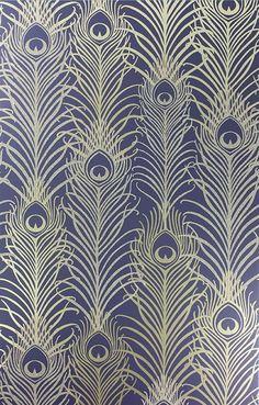Pippy's Peacock Wallpaper - Dark Blue [PEA-53621] : Designer Wallcoverings™