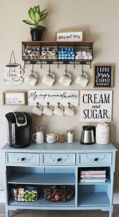 Cute Coffee Station Ideas – Searching for coffee bar ideas? By picking a distinc… Cute Coffee Station Ideas – Searching for coffee bar ideas? By picking a distinct location to position all your coffee making basics you will have the capability to apprecia Coffee Bars In Kitchen, Coffee Bar Home, Old Kitchen, Kitchen Ideas, Kitchen Hutch, Kitchen Small, Kitchen Designs, Country Kitchen, Diy Coffe Bar
