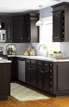 Make Over Your Kitchen For Less By Working With Your Existing Cabinets,  Flooring, And · Dark Kitchen Cabinets IdeasDark ...